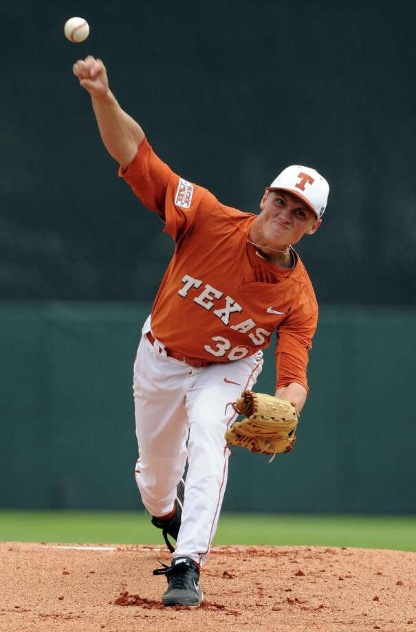 Texas' Nathan Thornhill delivers a pitch during the first inning of a Houston NCAA baseball regional game against Texas A&M, Friday, May 30, 2014, at Reckling Park in Houston. Photo: Eric Christian Smith, For The Chronicle