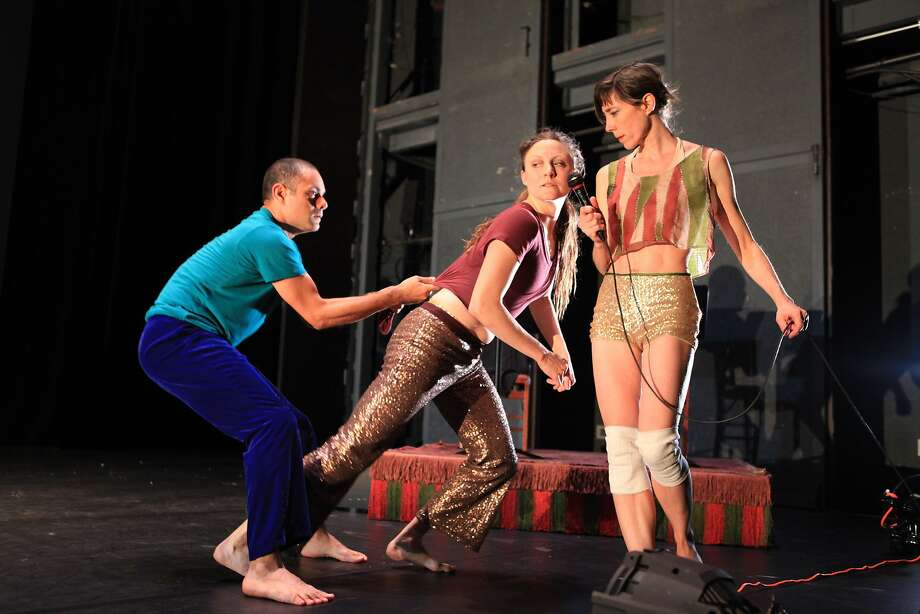 "Choreographer Lionel Popkin (left), Emily Beattie and Carolyn Hall in the West Coast premiere of ""Ruth Doesn't Live Here Anymore"" at ODC Theater. Photo: Cristal Jones."