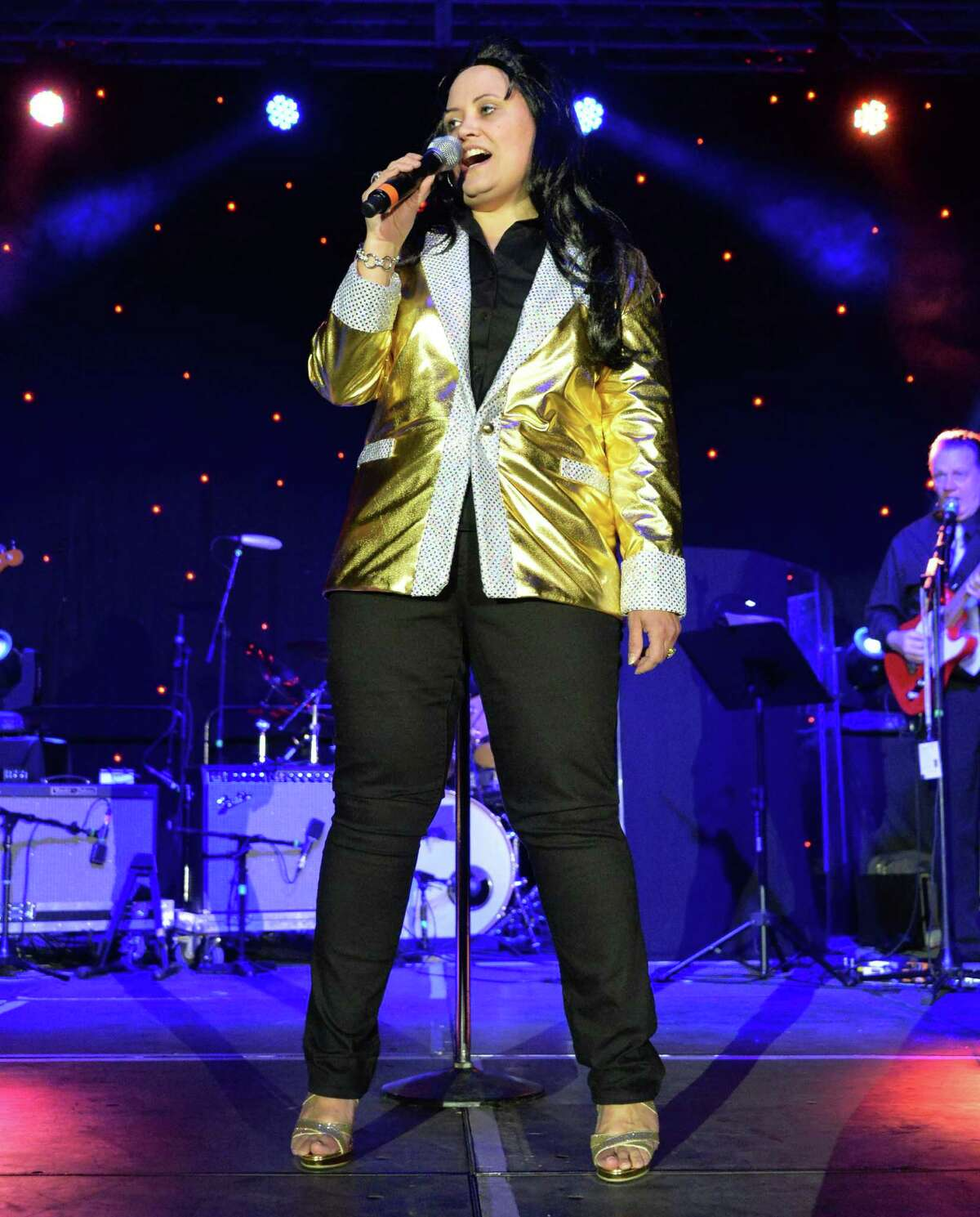Kathy Dugan of Bloomsburg, Penn., performs in the first round of Elvis tribute artist competition at the Lake George Forum Friday May 30, 2014, in Lake George, NY. (John Carl D'Annibale / Times Union)