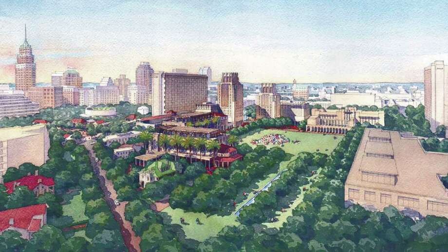 Rendering of the HemisFair Park concept shows a green space surrounded by classic-style buildings, including a tower. Photo: Courtesy Illustration