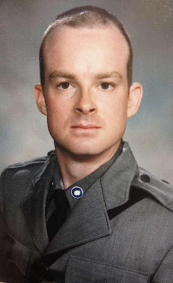 This undated photo provided by the New York State Police, shows Trooper Christopher Skinner, who was struck by a vehicle and killed, Thursday, May 29, 2014, while he was conducting a traffic stop outside his patrol car on Interstate 81 north of Binghamton, N.Y. The driver of the car that struck him was apprehended after pulling over and fleeing into near-by woods. (AP Photo/New York State Police) ORG XMIT: NYR108 / New York State Police