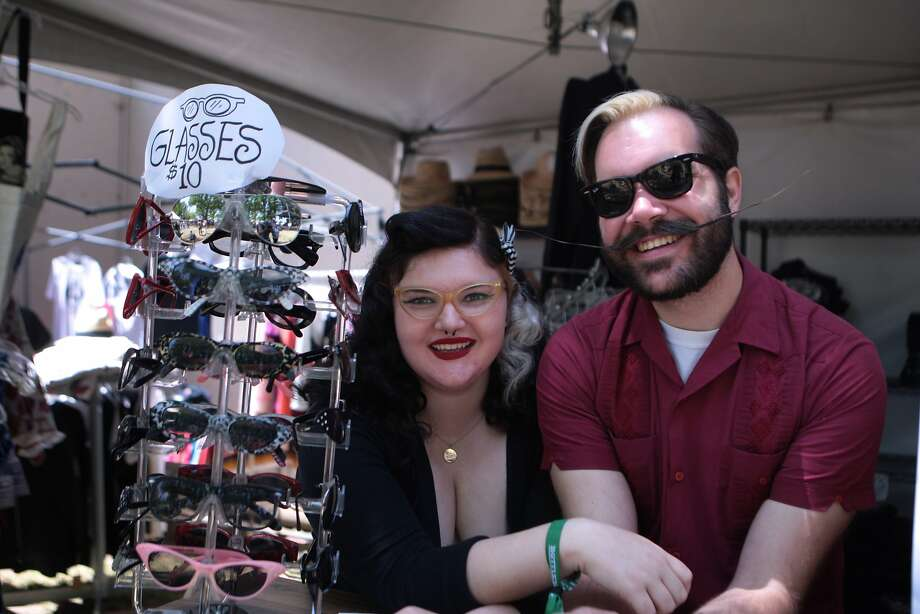 Remy Fuentes, left, and Brian Werle staffed the Wildcat Vintage Clothes booth near the City Winery Stage at the 2014 Bottlerock Napa Valley music, food and wine festival on Friday, May 30, 2014 in Napa, Calif. Photo: Kevin N. Hume, The Chronicle