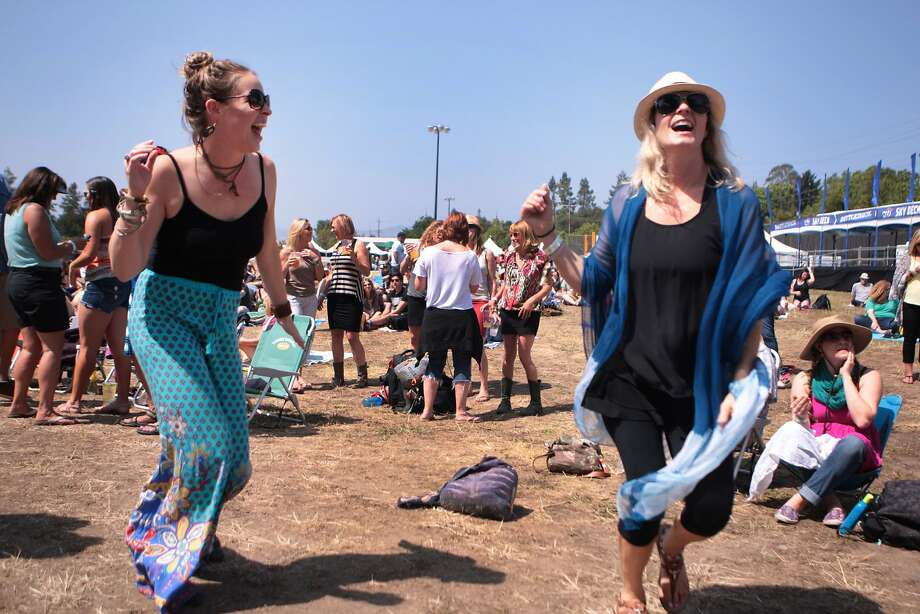 Hayley Colley and Guinevere King of San Diego dance during Moon Taxi at the 2014 Bottlerock Napa Valley music, food and wine festival on Friday, May 30, 2014 in Napa, Calif. Photo: Kevin N. Hume, The Chronicle