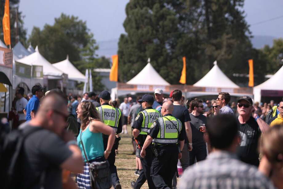 Police patrol around the beer and wine tents at the 2014 Bottlerock Napa Valley music, food and wine festival on Friday, May 30, 2014 in Napa, Calif. Photo: Kevin N. Hume, The Chronicle