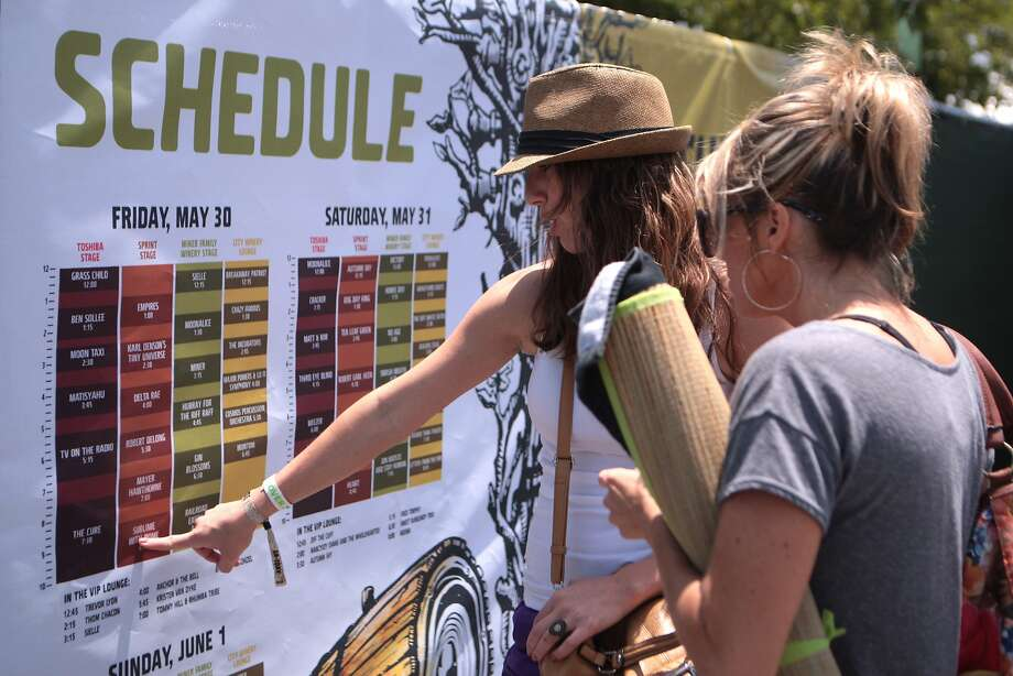 Crissie Salas, left, and Jessie Swartz of Grass Valley figure out which acts they want to see at the 2014 Bottlerock Napa Valley music, food and wine festival on Friday, May 30, 2014 in Napa, Calif. Photo: Kevin N. Hume, The Chronicle