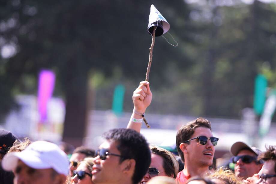A fan holds up a hat on a stick at the 2014 Bottlerock Napa Valley music, food and wine festival on Friday, May 30, 2014 in Napa, Calif. Photo: Kevin N. Hume, The Chronicle