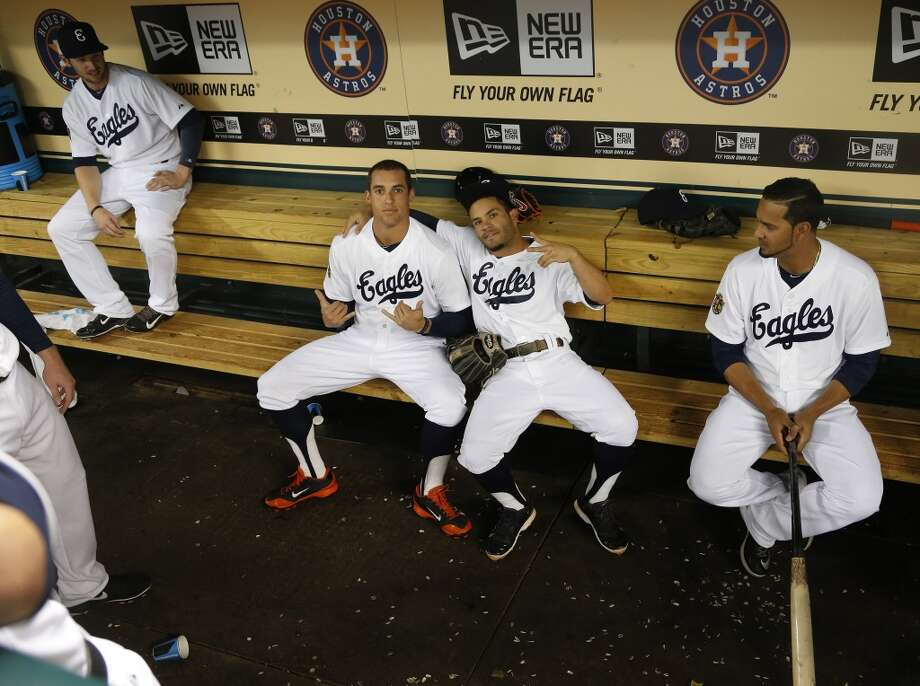 Astros right fielder George Springer (4) and Jose Altuve (27) in the dugout wearing their Eagles uniforms before the start of the annual MLB Civil Rights game. Photo: Karen Warren, Houston Chronicle