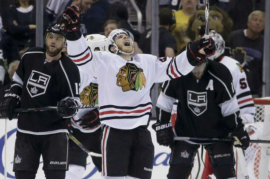 Blackhawks right wing Ben Smith celebrates  after Chicago's Game 6 win over the Kings. Smith had a second-period goal. Photo: Chris Carlson / Associated Press / AP