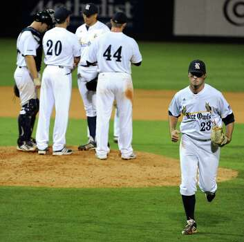 Rice starting pitcher Kevin McCanna (23) runs off the field after being pulled from the game during the eighth inning of a Houston NCAA baseball regional game against George Mason, Friday, May 30, 2014, at Reckling Park in Houston. Photo: Eric Christian Smith, For The Chronicle