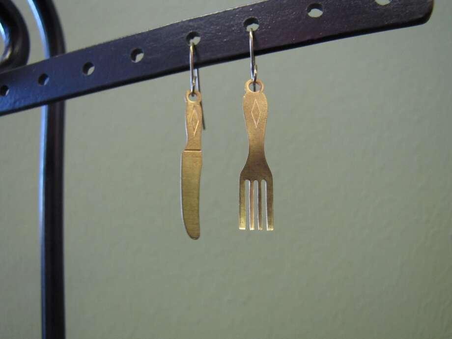Handmade miniature cutlery earrings, $12.95, GemJunkie, YaYa Club, Beaumont