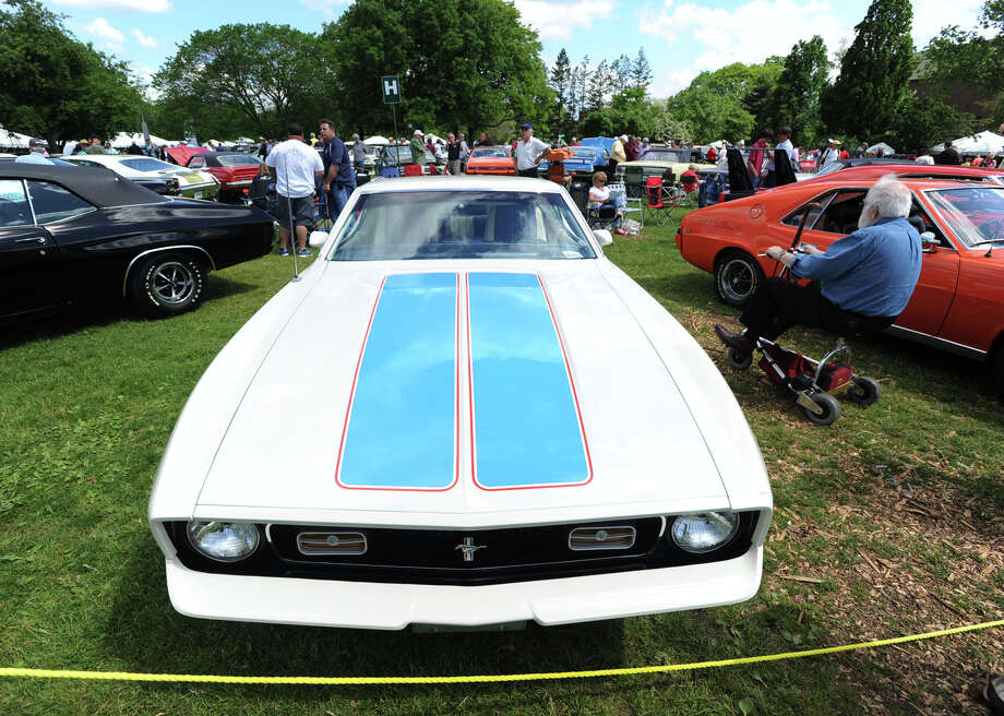 A 1972 Ford Mustang Sprint owned by Bob Hand was on display during the Greenwich Concours d'Elegance at Roger Sherman Baldwin Park in Greenwich, Saturday, May 31, 2014. Photo: Bob Luckey / Greenwich Time