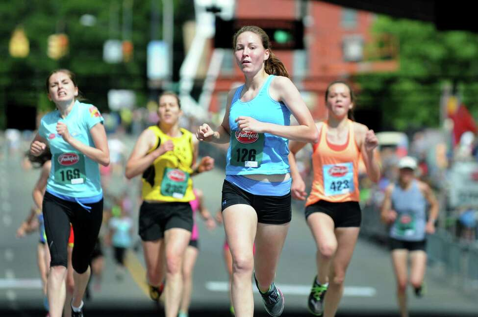 Runners approach the finish line during the Freihofer's 36th Run for Women on Saturday, May 31, 2014, in Albany, N.Y. (Cindy Schultz / Times Union)