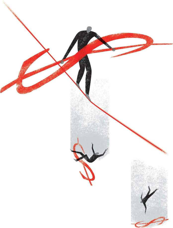 300 dpi Gabi Campanario color illustration of man walking tightrope while holding dollar bill for balance; below him are some falling men who have lost hold of their dollars. The Seattle Times 2009  money tightrope illustration balance budget shortfall balancing savings retirement tight rope slipping economic downfall decline dollar; krtbusiness business; krtnational national; krt; mctillustration; income; krtfinancialservice financial services; krtnamer north america; krtpersonalfinance personal finance; krtusbusiness; u.s. us united states; FIN; 04000000; 04006018; 04006019; 2009; krt2009; se contributed coddington campanario mct mct2009 Photo: Campanario / © MCT 2009
