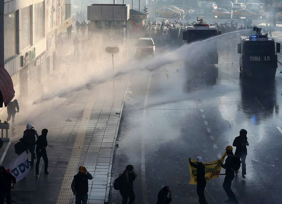 Police use water cannons to disperse protesters in Istanbul's Taksim Square. Photo: Adem Altan, AFP/Getty Images