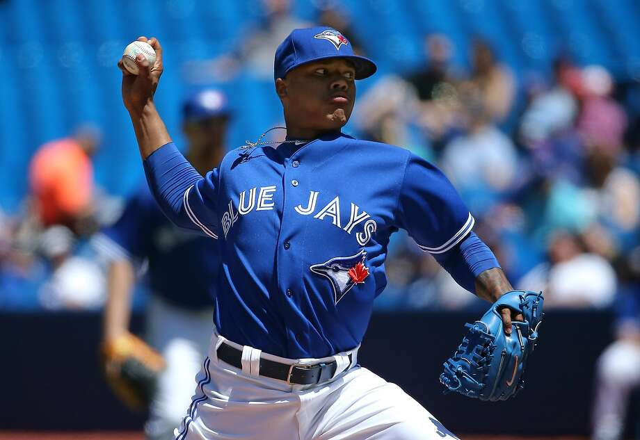 Toronto's Marcus Stroman, making his first major league start, limited Kansas City to one run and five hits in six innings. Photo: Tom Szczerbowski, Getty Images