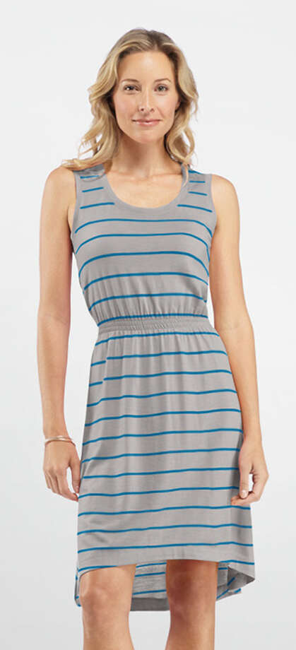 The Icebreaker Crush Dress Stripe is a sleeveless dress made from lightweight 200 gm merino wool. Instead of being itchy, it's super soft, breathable and odor resistant, so you don't have to wash it after every wear. It also packs light. Photo: Icebreaker.com / ONLINE_YES