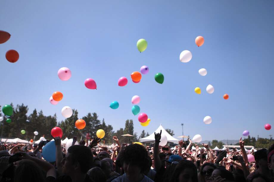 Balloons float above the crowd during Matt and Kim's performance at the 2014 Bottlerock Napa Valley music, food and wine festival on Saturday, May 31, 2014 in Napa, Calif. Photo: Kevin N. Hume, The Chronicle