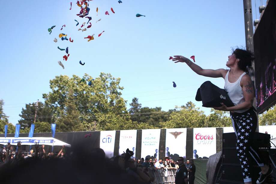 Kim Schifino of Matt and Kim tosses balloons into the crowd during their high-energy performance at the 2014 Bottlerock Napa Valley music, food and wine festival on Saturday, May 31, 2014 in Napa, Calif. Photo: Kevin N. Hume, The Chronicle