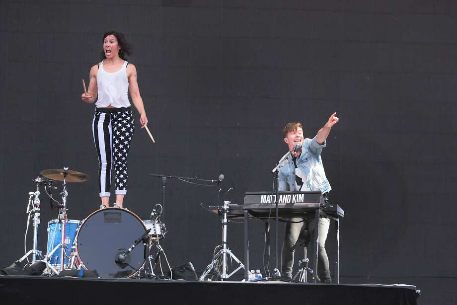 Matt and Kim pump up the crowd during the duo's high-energy performance at the 2014 Bottlerock Napa Valley music, food and wine festival on Saturday, May 31, 2014 in Napa, Calif. Photo: Kevin N. Hume, The Chronicle