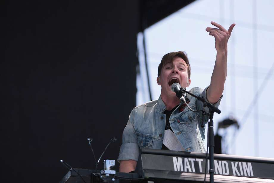 Matt Johnson of Matt and Kim riles up the crowd during the duo's high-energy performance at the 2014 Bottlerock Napa Valley music, food and wine festival on Saturday, May 31, 2014 in Napa, Calif. Photo: Kevin N. Hume, The Chronicle