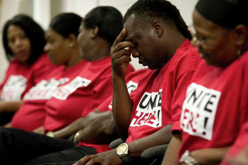 Unionized employees attend a meeting ahead of the closure of the Harrah's Tunica, a casino in Tunica Resorts, Miss., May 28, 2014. Nearly a thousand workers are set to lose their jobs as this casino, once a linchpin of Mississippi's 1990s gambling boom, is done in the reality that there are too many casinos chasing too few gamblers. (Brandon Dill/The New York Times) ORG XMIT: XNYT10