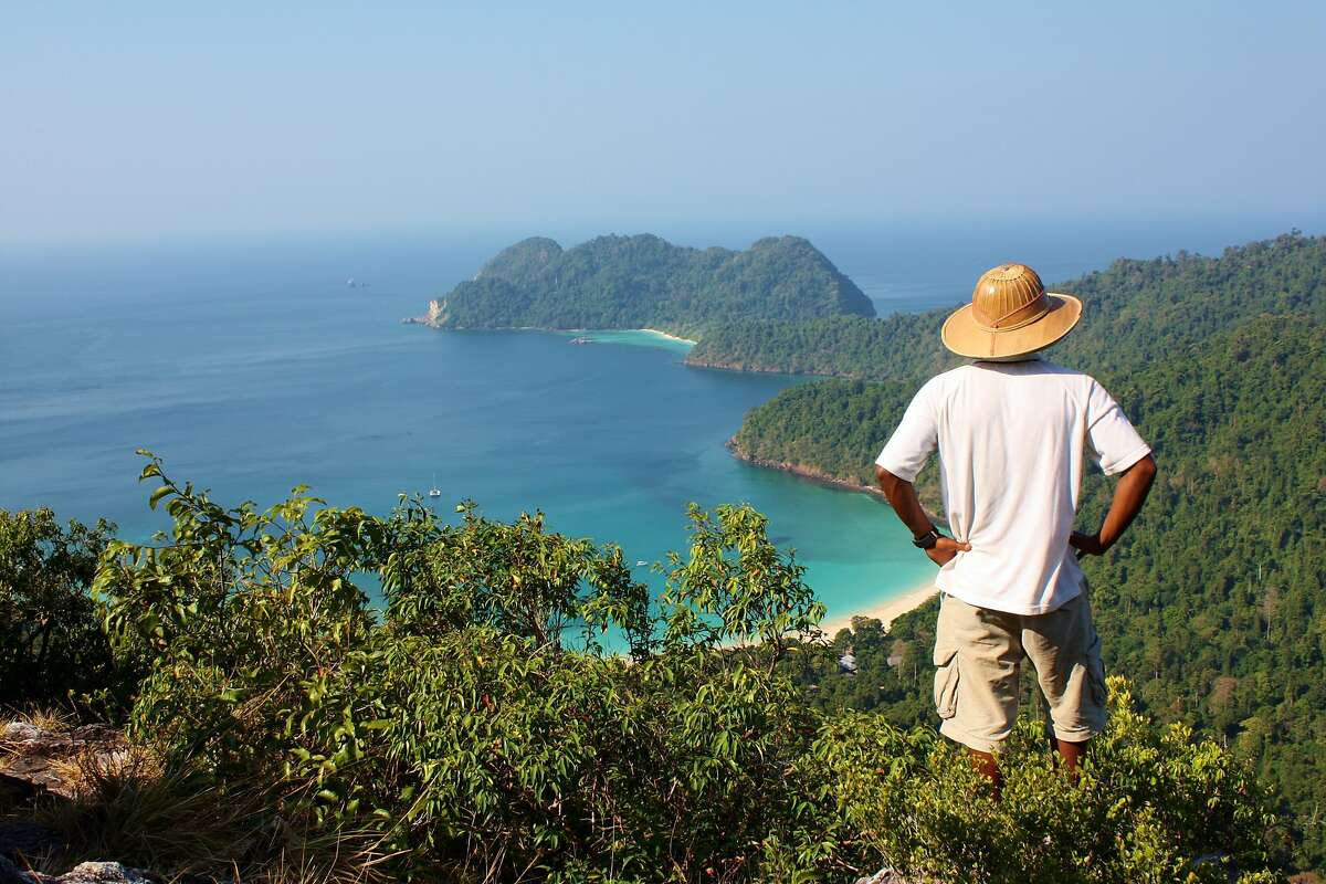 View from the hill on Macleod Island in the Myeik Archipelago, Burma, with Hein, the Burmese guide.