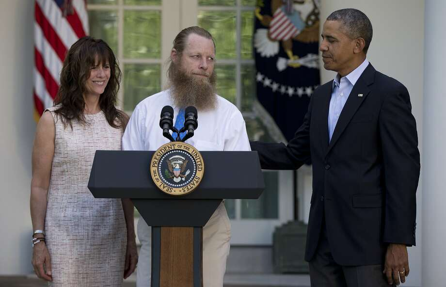 Jani and Bob Bergdahl speak about the release of their son, Sgt. Bowe Bergdahl, alongside President Obama in the Rose Garden. He was exchanged for five members of the Taliban. Photo: Carolyn Kaster, Associated Press