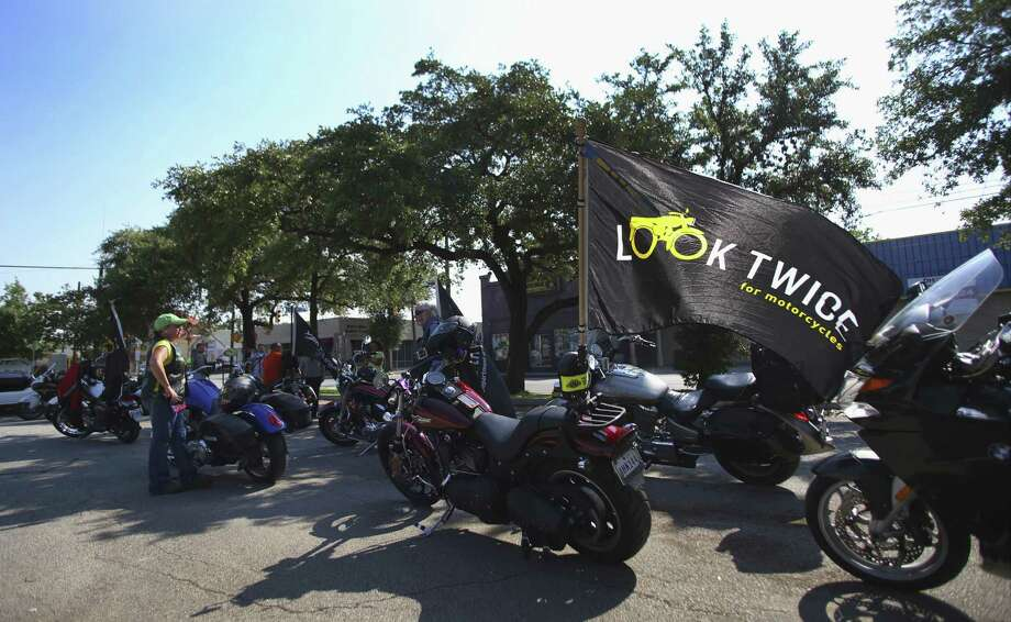"Motorcyclists poised at San Antonio College prepare to ride as part of the ""Look Twice for Motorcycles"" campaign. Photo: Photos By Timothy Tai / San Antonio Express-News / © 2014 San Antonio Express-News"