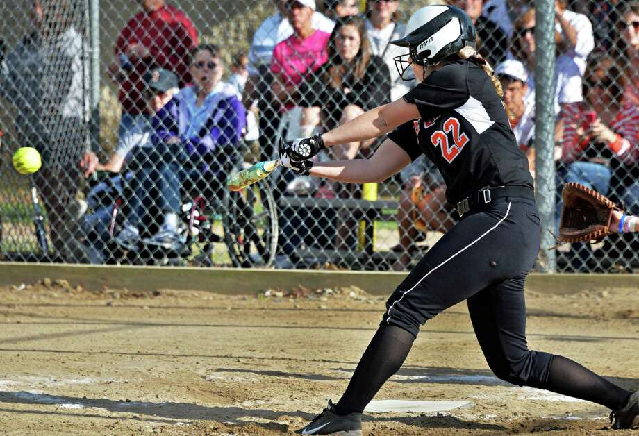 Bethlehem's #22 Hailey Prechtel drives in the game's only run in the Class AA softball final against Columbia High Saturday May 31, 2014, in Clifton Park, NY.  (John Carl D'Annibale / Times Union) Photo: John Carl D'Annibale / 00027104A
