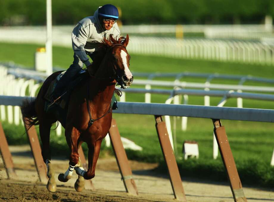 Kentucky Derby and Preakness winner California Chrome works out with jockey Victor Espinoza on Saturday at Belmont Park a week before seeking to make horse racing history. Photo: Al Bello / Getty Images / 2014 Getty Images