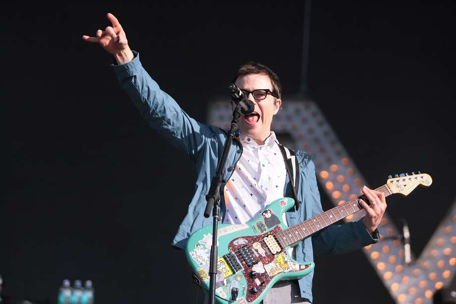 Weezer frontman Rivers Cuomo amps up the crowd at the 2014 Bottlerock Napa Valley music, food and wine festival on Saturday, May 31, 2014 in Napa, Calif. Photo: Kevin N. Hume, The Chronicle