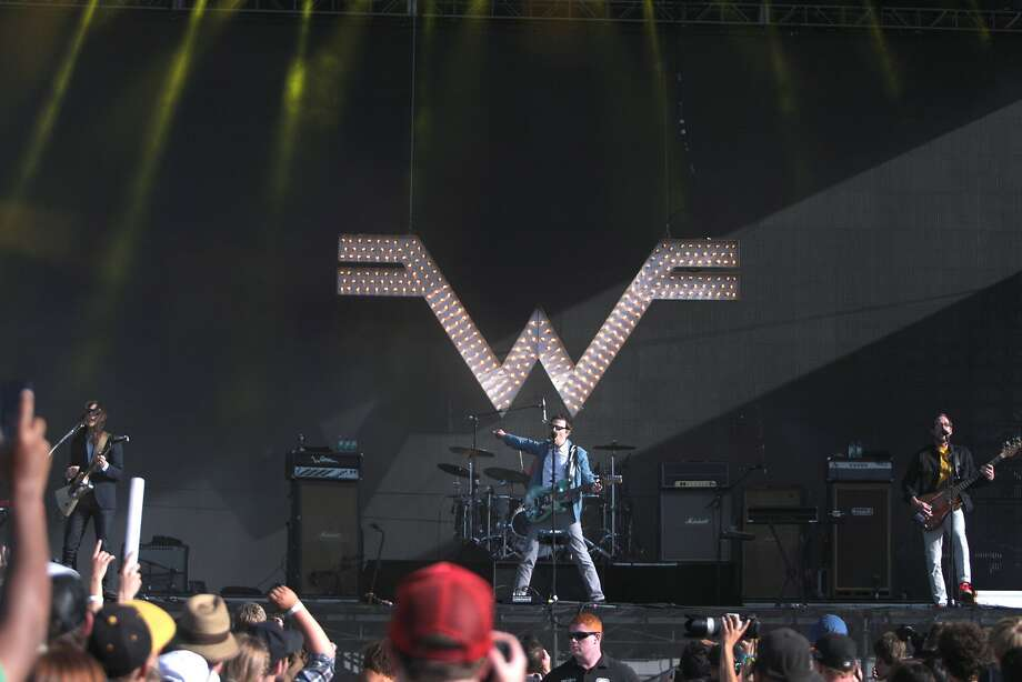 Weezer performs with their signature logo behind them at the 2014 Bottlerock Napa Valley music, food and wine festival on Saturday, May 31, 2014 in Napa, Calif. Photo: Kevin N. Hume, The Chronicle