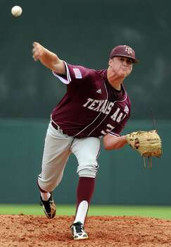 Texas A&M's Grayson Long delivers a pitch during the first inning of a Houston NCAA baseball regional game against George Mason, Saturday, May 31, 2014, at Reckling Park in Houston. Photo: Eric Christian Smith, For The Chronicle