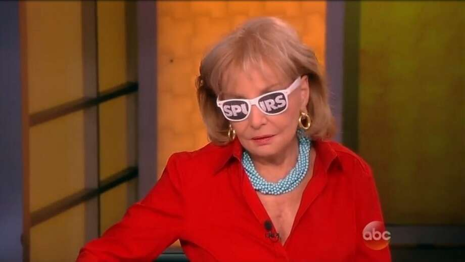 Barbara Walters showing her support last year for the Spurs.