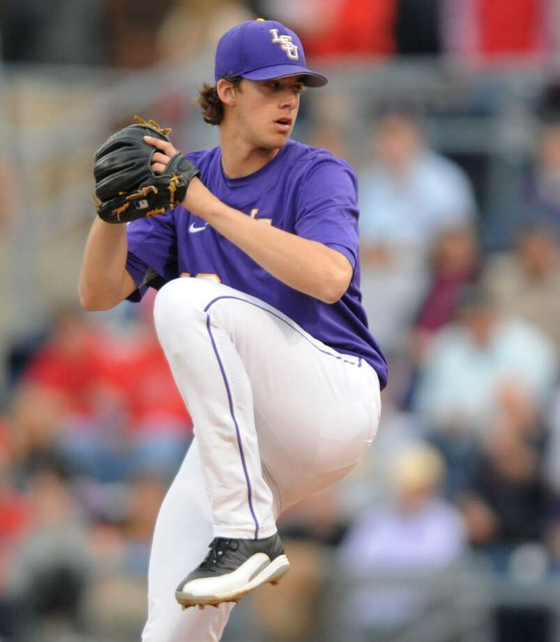 Aaron Nola, RHP  Height/weight:6-1, 196  School: LSU  Pros: Arguably has put together the best college season in the country this year, and some scouts believe he could be the first pitcher from the 2014 draft to reach the majors.  Cons: At 6-1 and 196 pounds, his slight frame is a concern even though he can hit 96 mph with his fastball and has plus command of three pitches. Photo: Bruce Newman, Associated Press