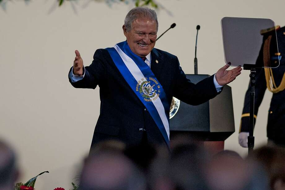 New President Salvador Sanchez Ceren greets supporters during his inauguration ceremony in San Salvador. Photo: Jose Cabezas, AFP/Getty Images