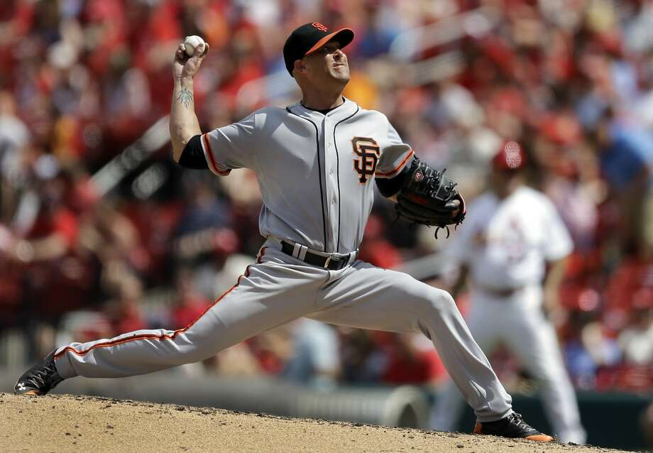 San Francisco Giants starting pitcher Tim Hudson throws during the fifth inning of a baseball game against the St. Louis Cardinals, Sunday, June 1, 2014, in St. Louis. (AP Photo/Jeff Roberson) Photo: Jeff Roberson, Associated Press