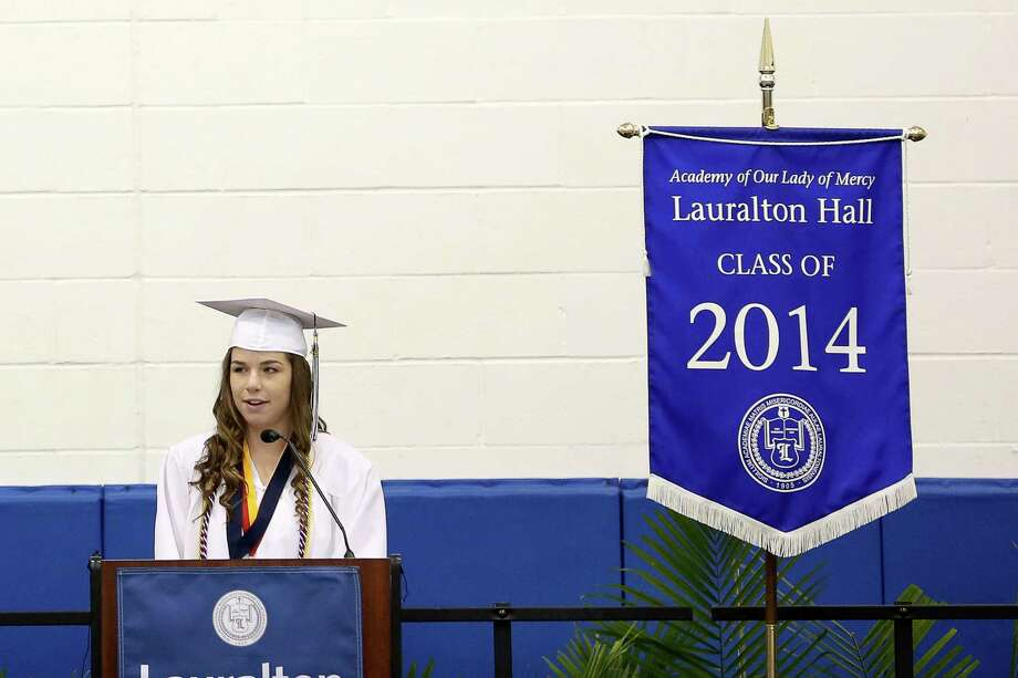 Lauralton Hall High School  Ann Marie Guzzi of Fairfield gives the Valedictory Address during commencement exercises in Milford, Conn. on Sunday June 1, 2014. Photo: Mike Ross / Mike Ross Connecticut Post freelance - @www.mikerossphoto.com