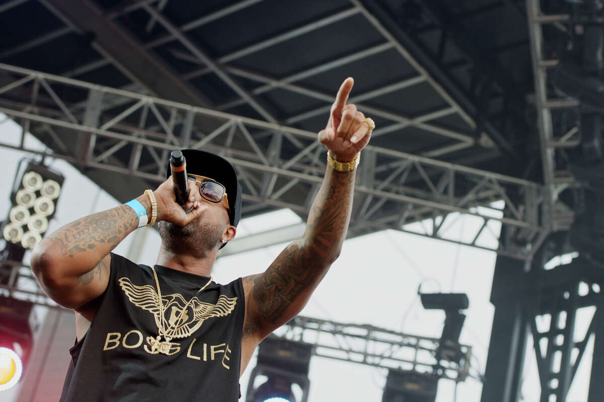 Slim Thug performs at the Welcome to Houston show featuring Houston rappers on the Neptune Stage at Eleanor Tinsley Park.