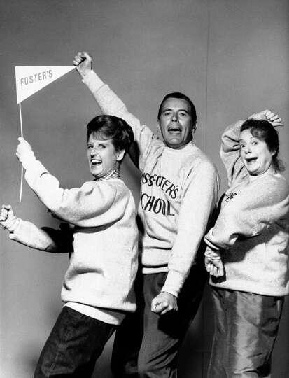 FILE - In a Sept. 13, 1965 photo actors Ann B. Davis, left, John Forsythe and Elsa Lanchester are sh