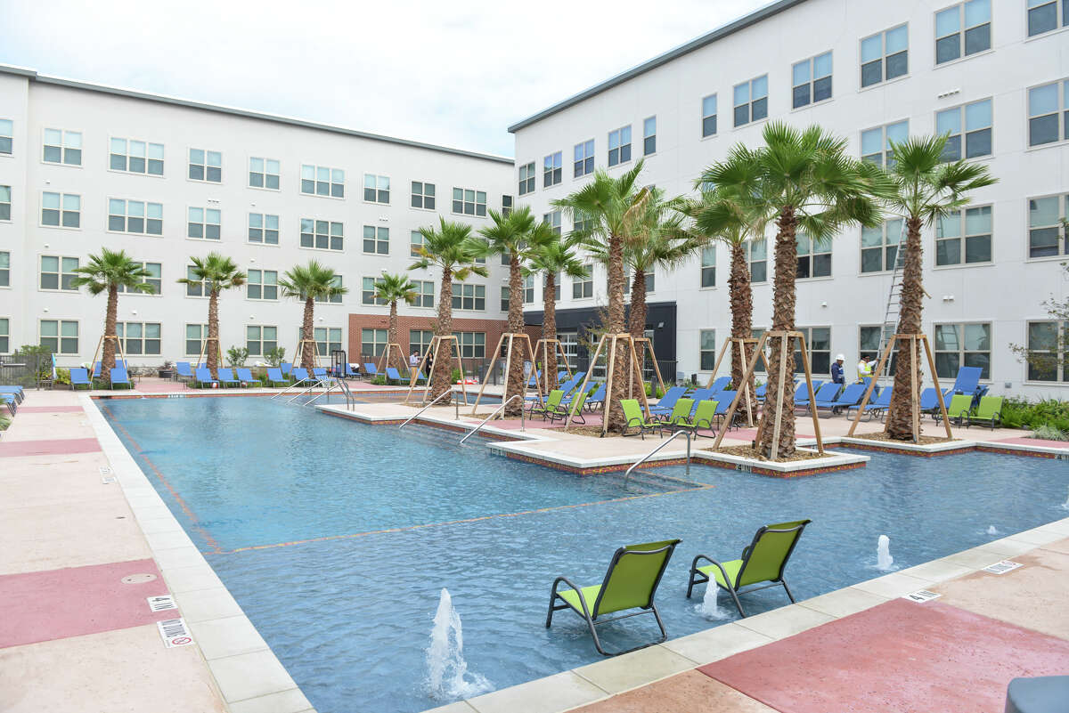 The inner courtyard pool area of the Tobin Lofts.