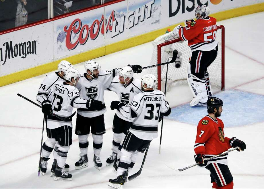 Los Angeles Kings center Tyler Toffoli (73) celebrates his goal with his teammates during the second period in Game 7 of the Western Conference finals against the Chicago Blackhawks in the NHL hockey Stanley Cup playoffs Sunday, June 1, 2014, in Chicago. (AP Photo/Charles Rex Arbogast) ORG XMIT: ILKS127 Photo: Charles Rex Arbogast / AP