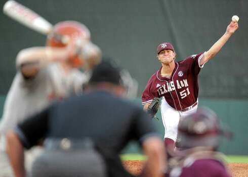 Texas A&M's Tyler Stubblefield delivers a pitch during the first inning of an NCAA baseball regional baseball  game against Texas, Sunday, June 1, 2014, at Reckling Park in Houston.  (AP Photo/Houston Chronicle, Eric Christian Smith) Photo: Eric Christian Smith, Associated Press / Houston Chronicle