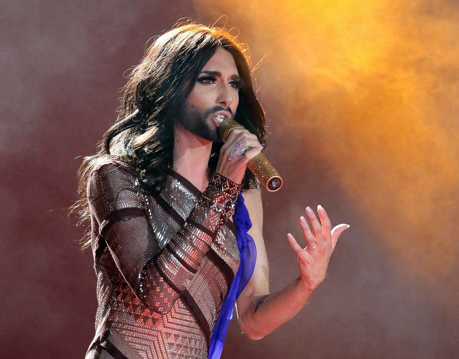 Bearded diva and Eurovision Song Contest winner Conchita Wurst performs during   the opening ceremony of the Life Ball in Vienna. The Life Ball is a charity gala to raise money for people living with HIV and AIDS. Photo: Ronald Zak, Associated Press