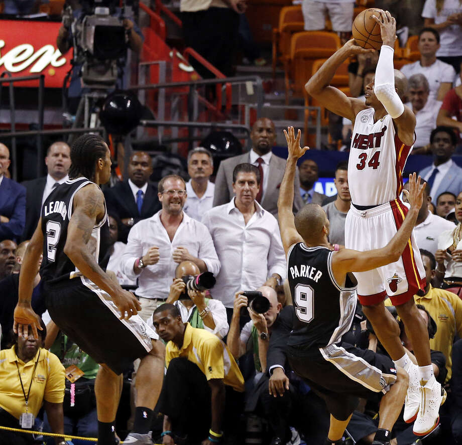 Heat guard Ray Allen's 3-point dagger in Game 6 began the heartache the Spurs have worked a full year to absolve. / © 2013 San Antonio Express-News