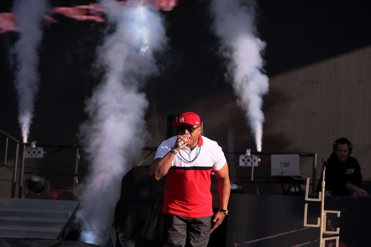 LL Cool J hits the stage as air cannons blast at the 2014 Bottlerock Napa Valley music, food and wine festival on Sunday, June 1, 2014 in Napa, Calif.