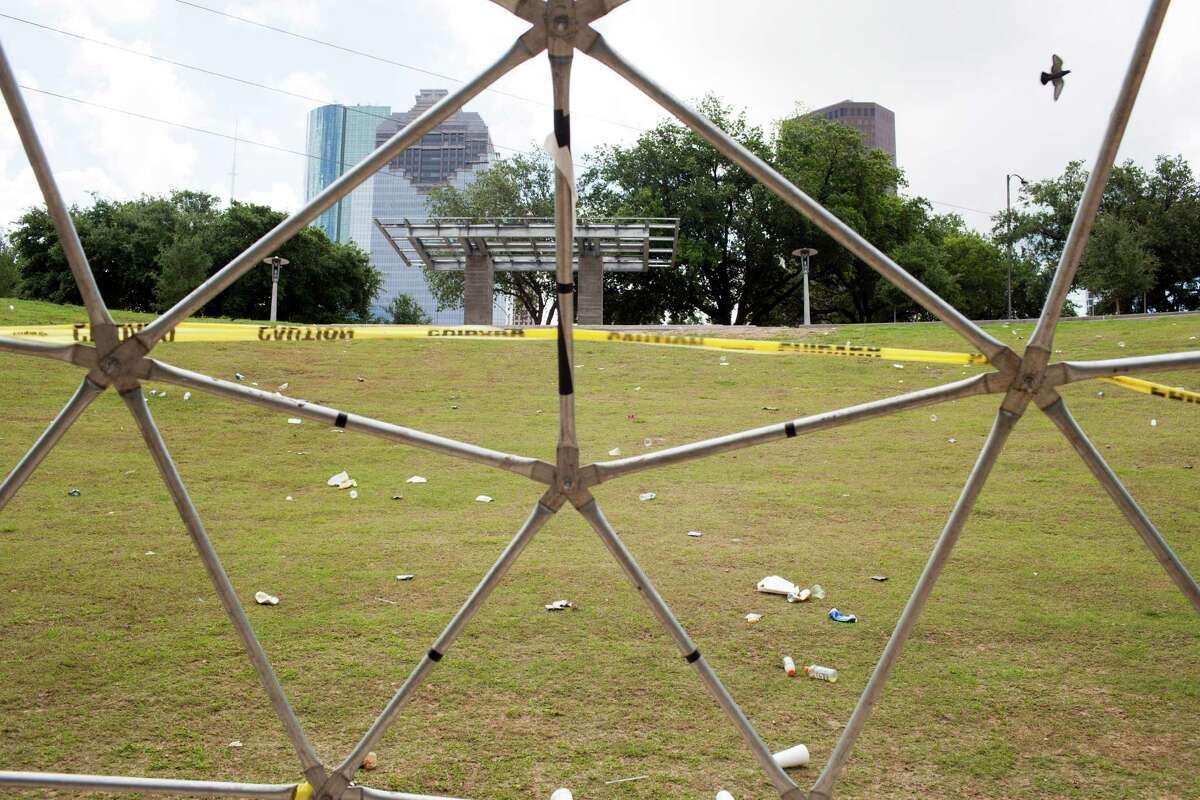 Clean up and breakdown occurs, June 2, 2014 in Houston in Eleanor Tinsley park following a weekend concert, Free Press Summer Fest.