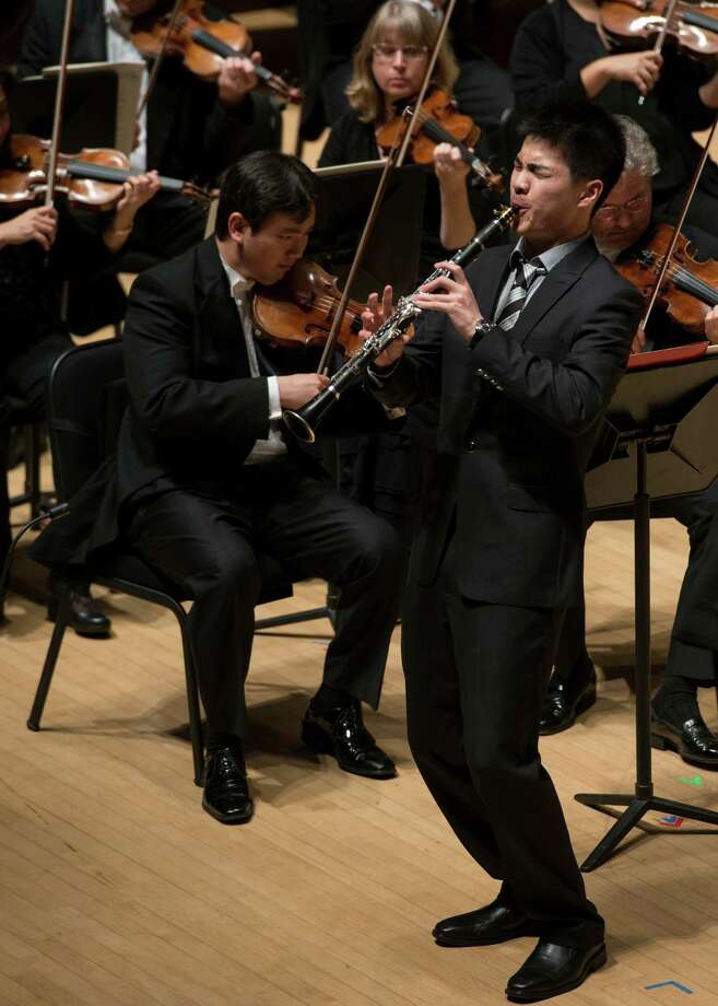 Clarinetist Lin Ma performs in the finals of the Ima Hogg Competition. Photo: Jeff Fitlow