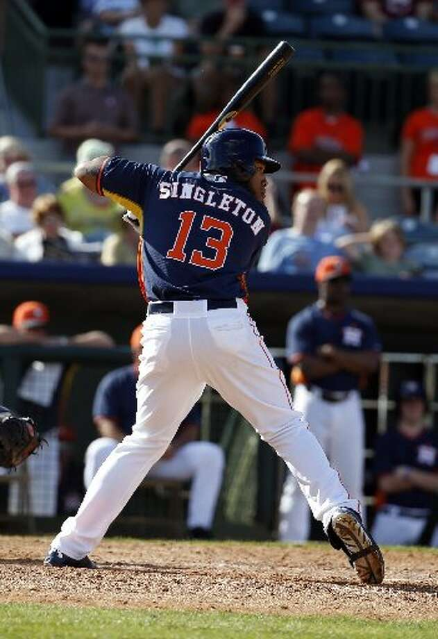 9. Once at Oklahoma City this year, Singleton has been hot. When he was called up, he had 14 homers in 54 games and a .267 average. Photo: Alex Brandon, Associated Press