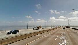 The San Mateo Bridge is one of the few Bay Area bridges with a shoulder, making it easy for CHP officers to pull over speeding drivers. (Photo: Google Maps)